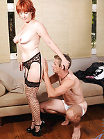 Sex starved redheaded Anilos Calliste gets rammed hard by the big cock of an experienced stud